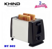 KHIND BT802 Bread Toaster 2 Slide (Stainless Steel)  with 6 Browning Setting & Stop Button Function