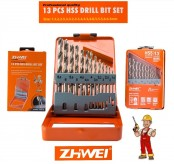 ZHWEI 13pcs 1.5-6.5mm High Speed Steel (HSS) Drill Bit Round Shank Straight Shank Drill Bit Set
