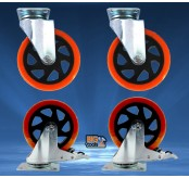 4pcs Bigtool 125mm 400kg PVC Orange Brake Swivel Castor Wheels Trolley Caster Furniture Cas