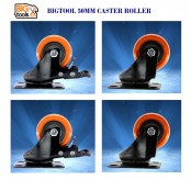 4pcs Bigtool 50mm 120kg PVC Orange Brake Swivel Castor Wheels Trolley Caster Furniture Casters