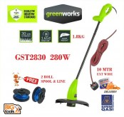 Greenworks GST2830 280w Grass String Trimmer + 2 Roll Spool Line (1 Year Warranty)