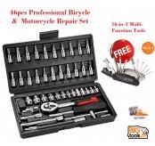 46pcs Professional Bicycle & Motorcycle Repair Set+ 16 in 1 Multi Tool