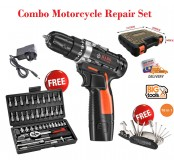 HABO 12V Li-Ion Cordless Drill +46pcs Professional  Bicycle & Motorcycle Repair Set+16-in-1 Multi-Function Tools